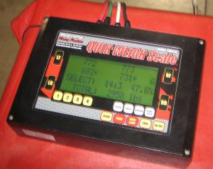 Auto racing scales display
